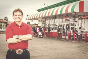 Our Story, Mike Abeyta, owner of Joe's Italian Ice in front of the Anaheim store